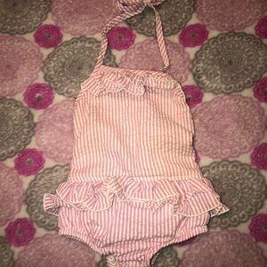 18 m Nola Smocked pink/white One Piece Swim Suit